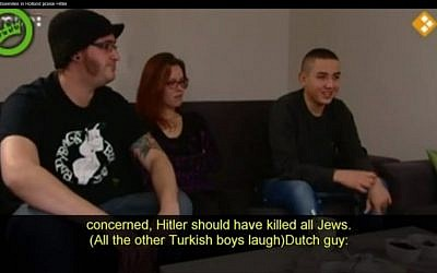 A Teenage Muslim immigrant to Holland says 'Hitler should have killed all Jews' (photo credit: screen capture Ban Koran/Youtube)