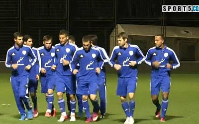 File: Israel's national soccer team prepares for Portugal (screen capture/Sport5.co.il)