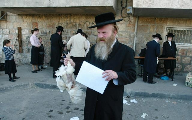 Illustrative photo of an Ultra-Orthodox Jewish man holding a chicken later to be slaughtered as part of a Kaparot ritual (photo credit: Pierre Terdjman /Flash90)