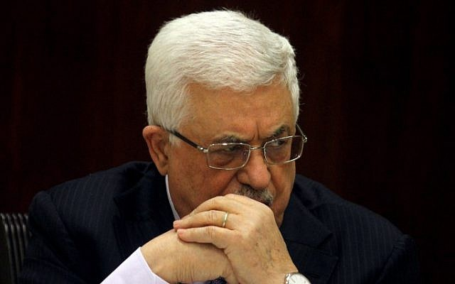 Palestinian Authority President Mahmoud Abbas at the Executive Committee of the PLO in Ramallah, in January (photo credit: Issam Rimawi/Flash90)