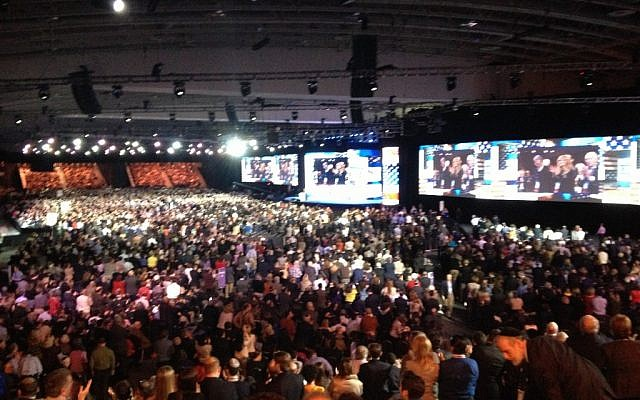 Crowd at the AIPAC conference in Washington, D.C., March 3, 2013 (photo credit: Times of Israel Staff)