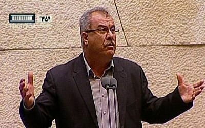 MK Mohammed Barakeh speaking to the Knesset Monday. (Screenshot: Knesset Channel)