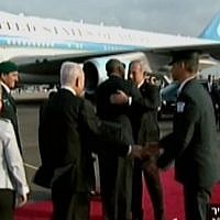 President Barack Obama hugs Prime Minister Benjamin Netanyahu, before he leaves Israel on Friday (photo credit: Channel 2 screenshot)