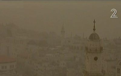 Bethlehem on Friday, awaiting a belated President Obama amid a sandstorm (photo credit: Channel 2 screenshot)