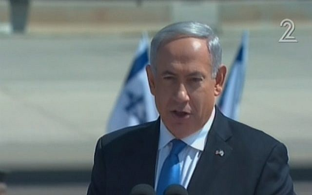 Prime Minister Benjamin Netanyahu with a silvery mane of hair (photo credit: image capture Channel 2)