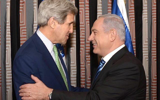 John Kerry and Benjamin Netanyahu meeting in Jerusalem in March. (photo credit: Amos Ben Gershom/GPO/Flash90)