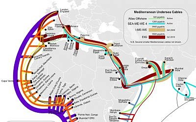 Internet cables that run through the Middle East (Photo credit: Courtesy)