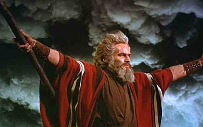 Charlton Heston as Moses in 1956's Cecil B. DeMille epic, 'The Ten Commandments' (photo credit: Paramount pictures)