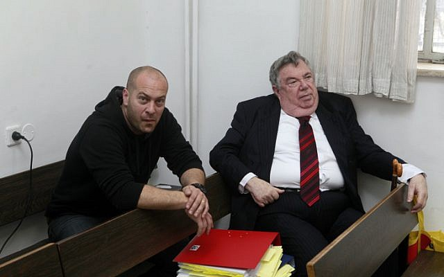 Holyland trial state's witness Shmuel Dachner, right, at the Jerusalem District Court on March 4, 2012 (photo credit: Flash90)