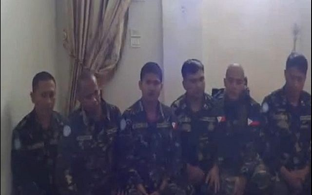 Kidnapped UN peacekeepers in Syria seen in a video released last Thursday. (photo credit: YouTube screenshot)