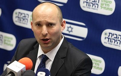 Naftali Bennett at a party meeting on March 18, 2013 (photo credit: Miriam Alster/Flash90)