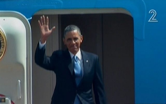 US President Barack Obama steps off Air Force One (Photo credit: Channel 2 screenshot)