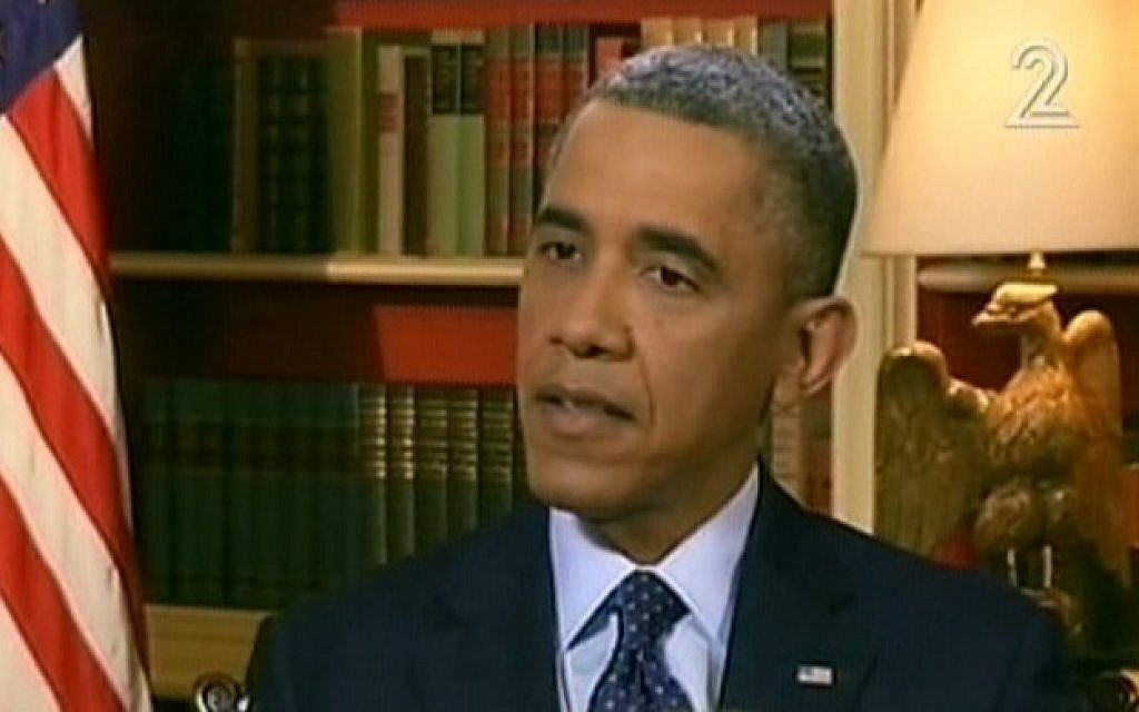 US President Barack Obama is interviewed on Channel 2 News, Thursday, March 14 (photo credit: image capture Channel 2)