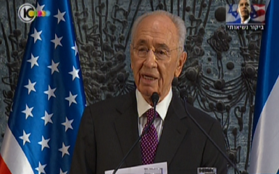President Shimon Peres speaks at a state dinner in honor of visiting US President Barack Obama. (photo credit: image capture from Channel 10)