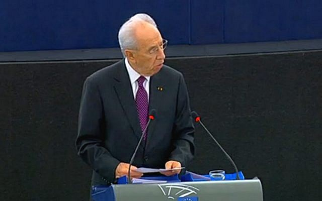 President Shimon Peres addresses the European parliament in Strassburg, Tuesday (photo credit: EU)
