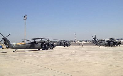 US Black Hawk helicopters at the airport (photo credit: Matti Friedman/Times of Israel)
