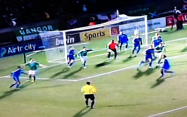 Israel (in blue) in action against Northern Ireland in Belfast on Tuesday night (photo credit: Sport5 screenshot)