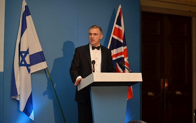 Israel's Ambassador to the UK Daniel Taub addresses a Zionist Federation event in London, March 2013 (photo credit: Courtesy Zionist Federation)