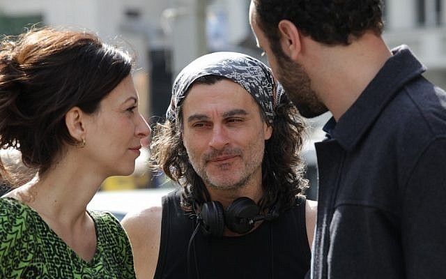 Ziad Doueiri (center) with actors Ali Suliman (right) and Reymond Amsalem (left), on the set of 'The Attack' (courtesy/Ziad Doueiri)