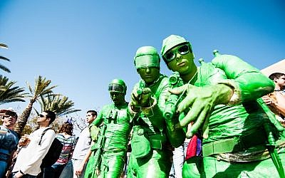 Green guys, dressed up for a late Purim at Ben-Gurion University (Courtesy BGU)