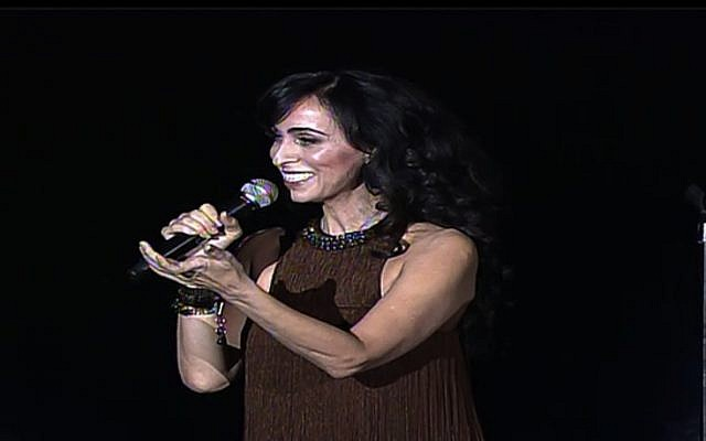Israeli singer Rita performs at the United Nations on Tuesday, March 5 (photo credit: image capture unwebtv)