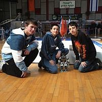 Students from a Haifa junior high school who created the Robo-waiter (Photo credit: Courtesy Technion)