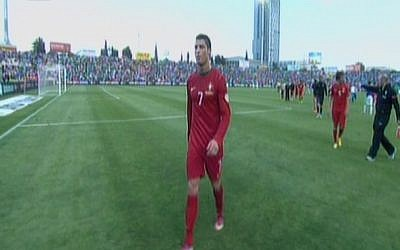 Portuguese front man Christiano Ronaldo, at the Ramat Gan national stadium, Friday, March 22, 2013 (image capture: Channel 1)