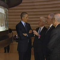 From left: Obama, the Israel Museum's James Snyder, Netanyahu and Museum chair Yitzhak Molcho, visiting the Shrine of the Book to see the Dead Sea Scrolls. (screenshot: Channel 2)