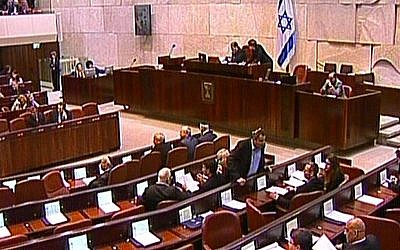 Knesset members assemble in the plenum for the swearing in of Israel's 33rd government, March 2013. (screen capture: Knesset Channel)