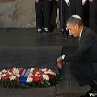 US President Barack Obama pauses in contemplation after laying a wreath in memory of the six million Jews who perished in the Holocaust, at Yad Vashem on Friday, March 22 (photo credit: Channel 2 screenshot)