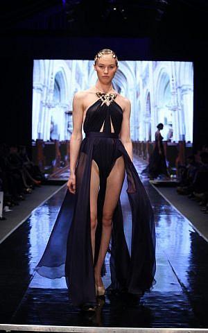 The original dress, in black, as worn at Tel Aviv Fashion Week (photo credit: Avi Waldman)
