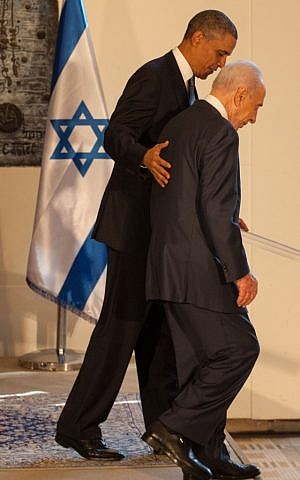President Shimon Peres and President Barack Obama seen leaving a joint press conference at Peres's residence in Jerusalem on March 20, 2013. (Photo credit: Uri Lenz/FLASH90)