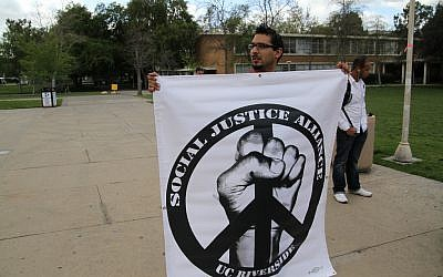 An unrelated protest at UC Riverside (photo credit: CC BY-SA Neon Tommy, Flickr)