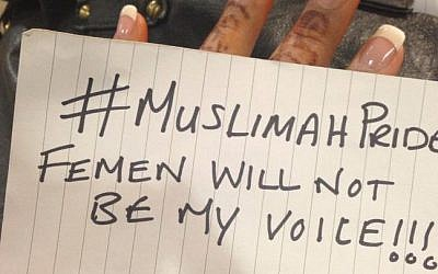 Photo uploaded to Muslim Women Against Femen Facebook page (photo credit: Publicity)