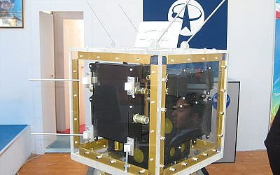 An Iranian-made satellite (photo credit: CC-BY-SA, Mardetanha, Wikimedia Commons)