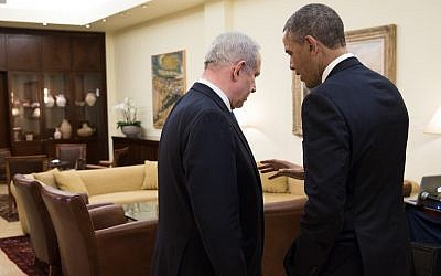 Benjamin Netanyahu speaking to Barack Obama at the Prime Minister's Residence in Jerusalem in March  2013. (photo credit: Pete Souza/Official White House)