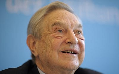 George Soros speaks at a conference in Berlin, April 2012. (photo credit: AP)