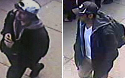 Combination of images released by the FBI on Thursday, April 18, 2013, shows two images taken from surveillance videos of who the FBI are calling suspect No. 2 (left, in white cap), and suspect No. 1 (right, in black cap), as they walk near each other through the crowd before the explosions at the Boston Marathon on Monday, April 15, 2013. (photo credit: AP/FBI)