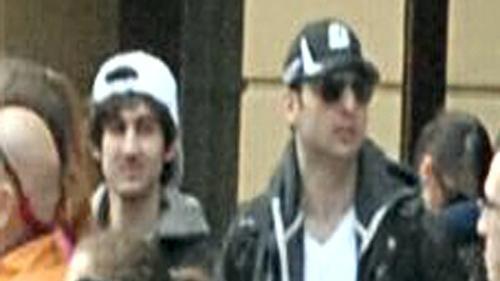Brothers Tamerlan, right, and Dzhokhar Tsarnaev, pictured shortly before April's Boston Marathon blasts (Photo credit: AP/Bob Leonard)