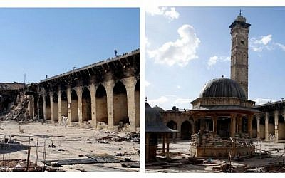 This combination of two citizen journalist images provided by Aleppo Media Center AMC which has been authenticated based on its contents and other AP reporting, shows at left: the damaged famed 12th century Umayyad mosque without the minaret, background right corner, which was destroyed by the shelling, in the northern city of Aleppo, Syria, Wednesday April 24, 2013; and at right, an undated view of the mosque with is minaret still intact. The minaret of a famed 12th century Sunni mosque in the northern Syrian city of Aleppo was destroyed Wednesday, April; 24, 2013, leaving the once-soaring stone tower a pile of rubble and twisted metal scattered in the tiled courtyard. (photo credit: AP/Aleppo Media Center, AMC)