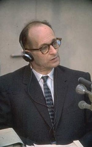 Adolf Eichmann, on trial in 1961 (photo credit: Wikimedia Commons)