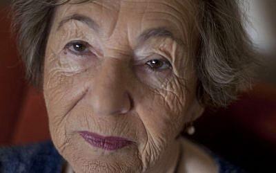 Aliza Vitis-Shomron, nee Mendel, in her living room in Kibbutz Givat Oz, Israel (Photo credit: AP/Ariel Schalit)
