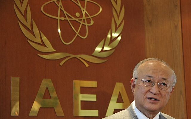 International Atomic Energy Agency head Yukiya Amano gives an interview at his office in Vienna, Austria, on Tuesday, April 2, 2013. (photo credit: Hans Punz/AP)