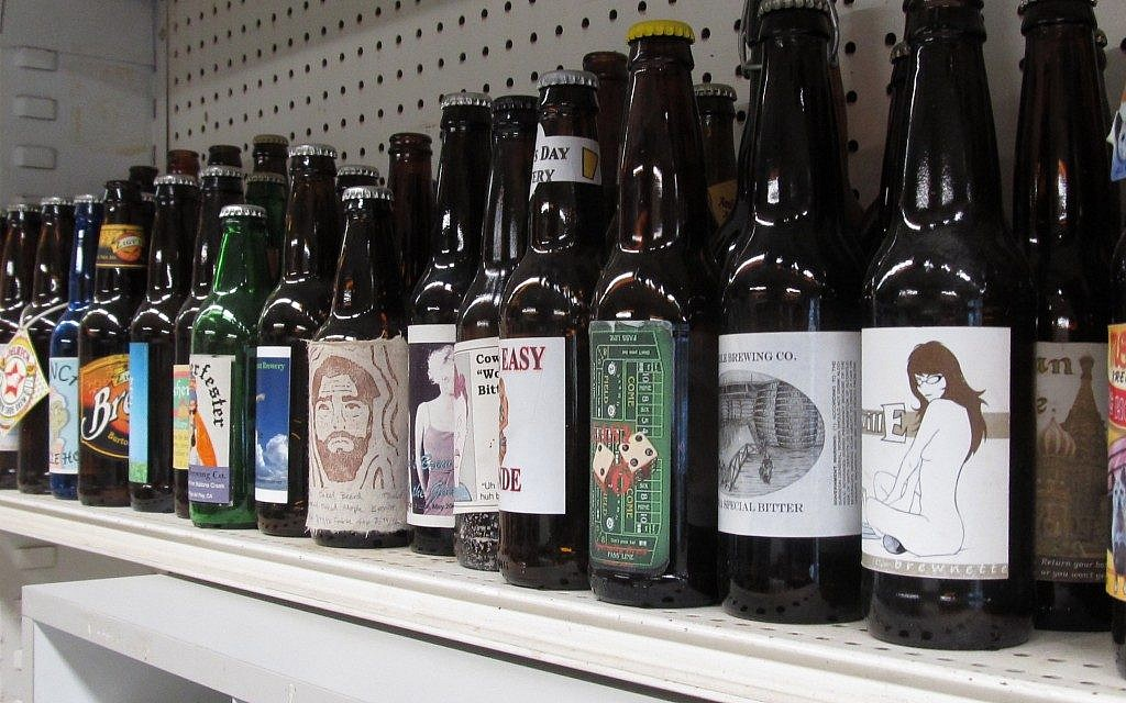 A display of home-brewed beers. Thinking of the bonfires of Lag b'Omer, a Jewish home brewer suggests a smoked porter. (photo credit: Edmon J. Rodman/JTA)