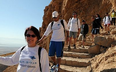 Illustrative photo of Birthright participants visiting Masada, summer 2012. (Taglit-Birthright/JTA)