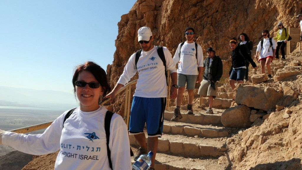 Illustrative photo of Birthright participants visiting Masada, summer 2012. (photo credit: Taglit-Birthright/JTA)