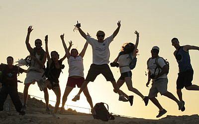 Birthright Israel participants at Masada, summer 2012 (photo credit: Courtesy Taglit-Birthright/JTA)