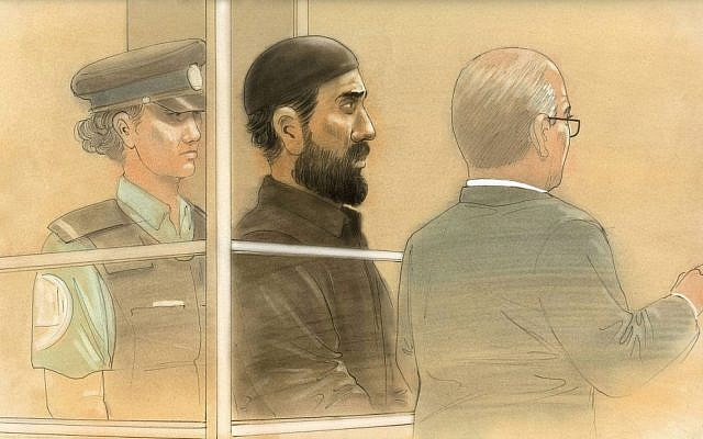 In this courtroom sketch, Raed Jaser appears in court in Toronto on Tuesday, April 23 (photo credit: AP/The Canadian Press, John Mantha)