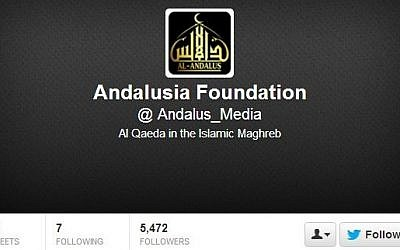 The Twitter handle of al-Qaeda in the Islamic Maghreb (photo credit: screen capture/Twitter)