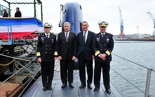Israeli officials on board Israel's newest Dolphin-Class submarine, the INS Rahav, during a ceremony in Kiel, Germany, Monday, April 29, 2013. (Courtesy/Defense Ministry)